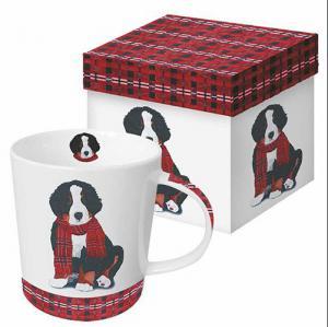 PPD bögre kutya sállal piros-fekete díszdobozban