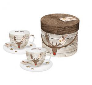 PPD cappuccino csésze szarvasfej Merry X-Mas díszdobozban 2db/szett
