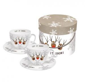 PPD cappuccino csésze szarvasfejek Let It Snow díszdobozban 2db/szett