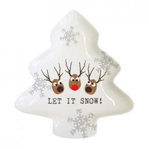 PPD fenyőfa tál szarvasfejek Let It Snow (Elfogyott)