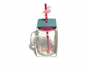Szívószálas üveg flamingó