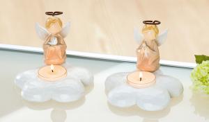 Teamécsestartó angyalka barna-krém