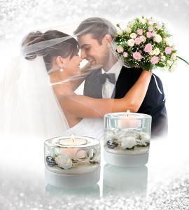 Teamécsestartó esküvői henger fehér nagy