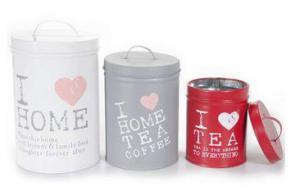 Teatartó doboz fém I LOVE HOME,TEA