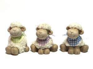 Ülő bárány kockás sállal zöld,lila,kék