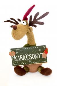 Rénszarvas ülő Boldog Karácsonyt táblával textil 35cm piros-zöld-barna