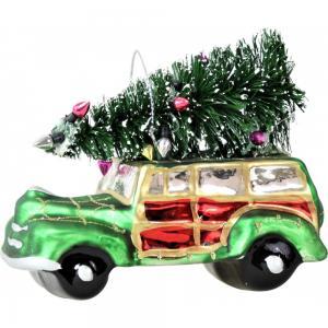 Üveg karácsonyfa disz autó