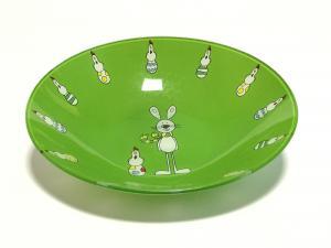 Üvegtál nyulas zöld