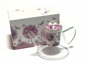 Virágmintás teáskanna kerámia szűrővel díszdobozban