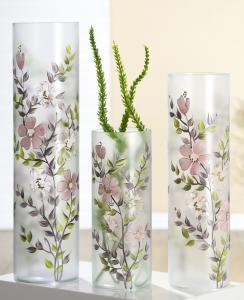 Virágos üveg váza kicsi